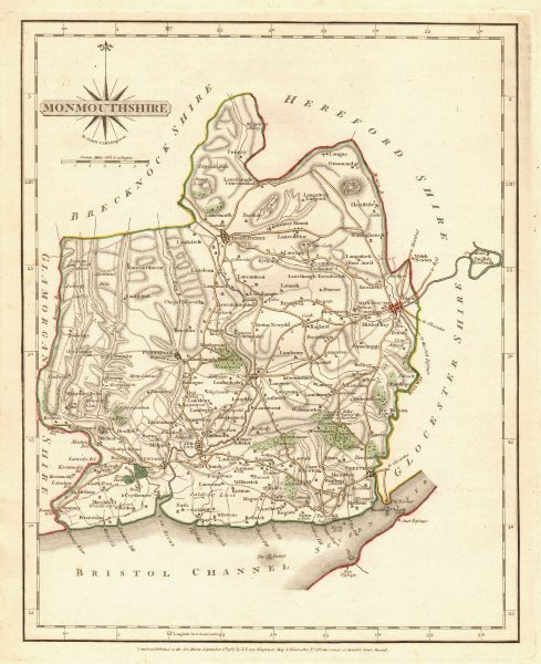 Associate Product Antique county map of MONMOUTHSHIRE by JOHN CARY. Original outline colour 1787