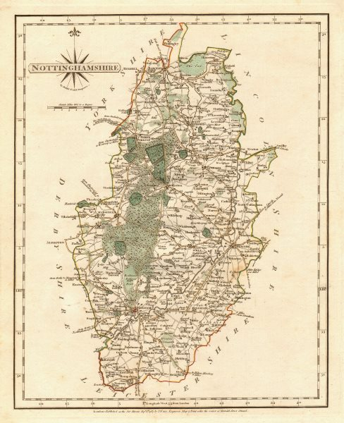 Associate Product Antique county map of NOTTINGHAMSHIRE by JOHN CARY. Original outline colour 1787