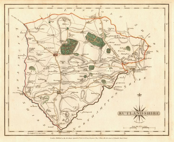Associate Product Antique county map of RUTLANDSHIRE by JOHN CARY. Original outline colour 1787