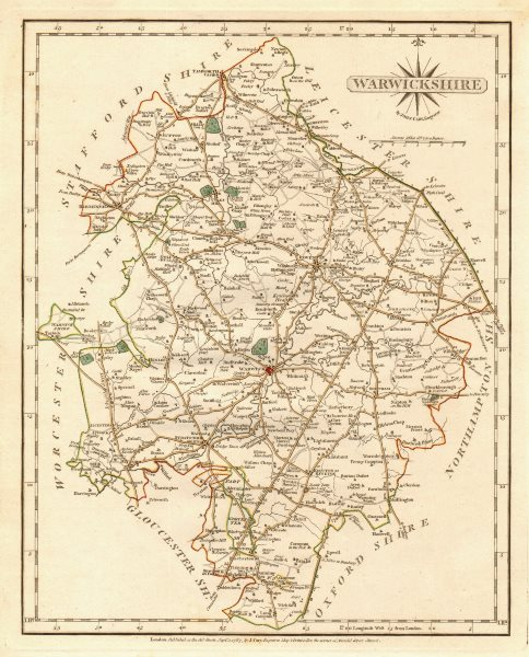 Associate Product Antique county map of WARWICKSHIRE by JOHN CARY. Original outline colour 1787