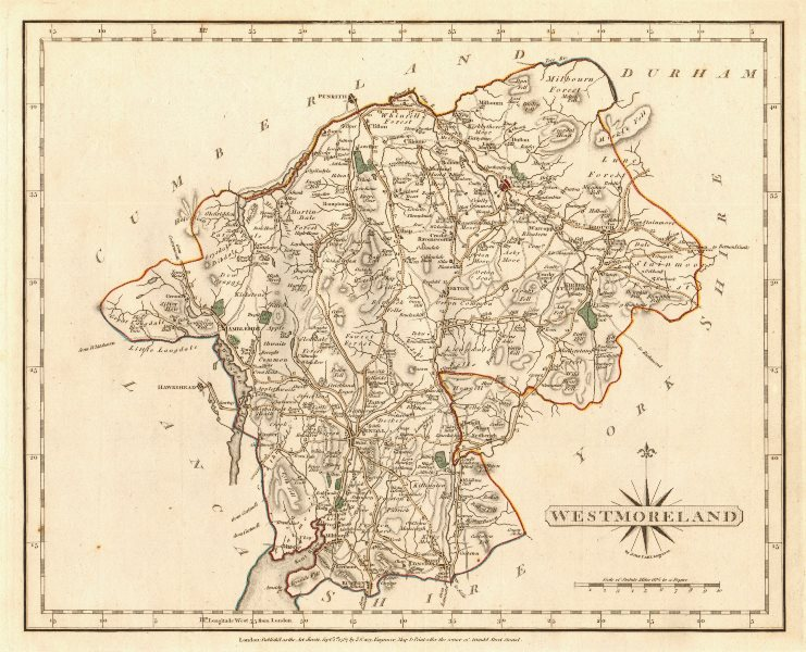 Associate Product Antique county map of WESTMORELAND by JOHN CARY. Original outline colour 1787