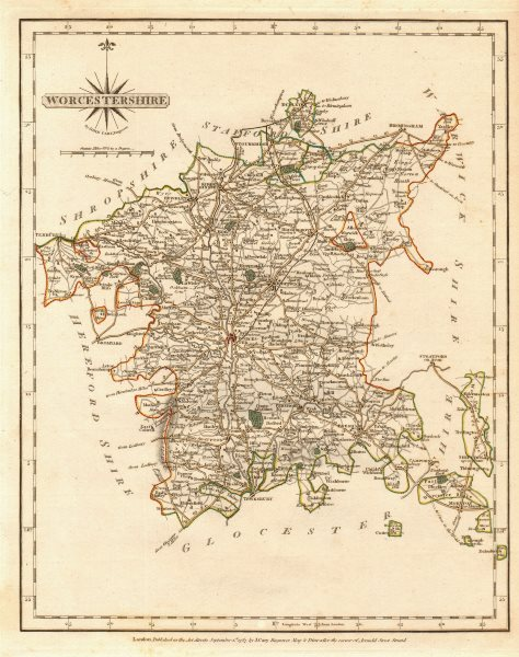 Associate Product Antique county map of WORCESTERSHIRE by JOHN CARY. Original outline colour 1787