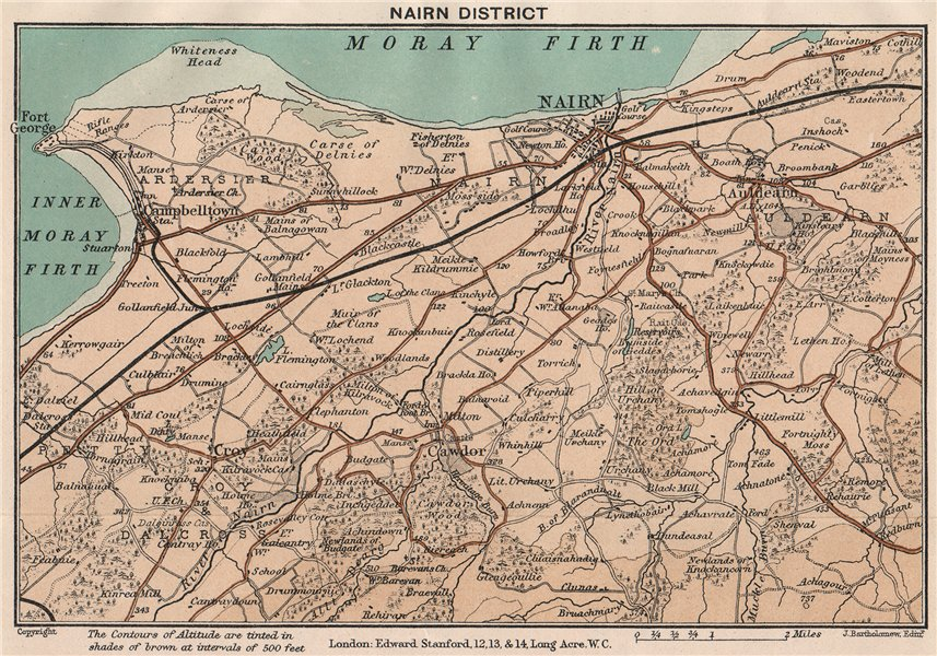 Associate Product NAIRN DISTRICT. Campbelltown. Vintage map. Scotland. STANFORD 1905 old