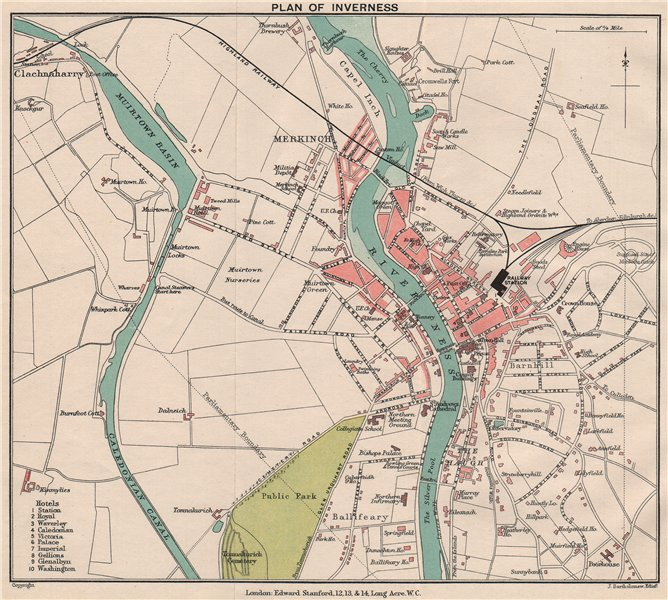 Associate Product INVERNESS. Vintage town city plan. Scotland. STANFORD 1905 old antique map