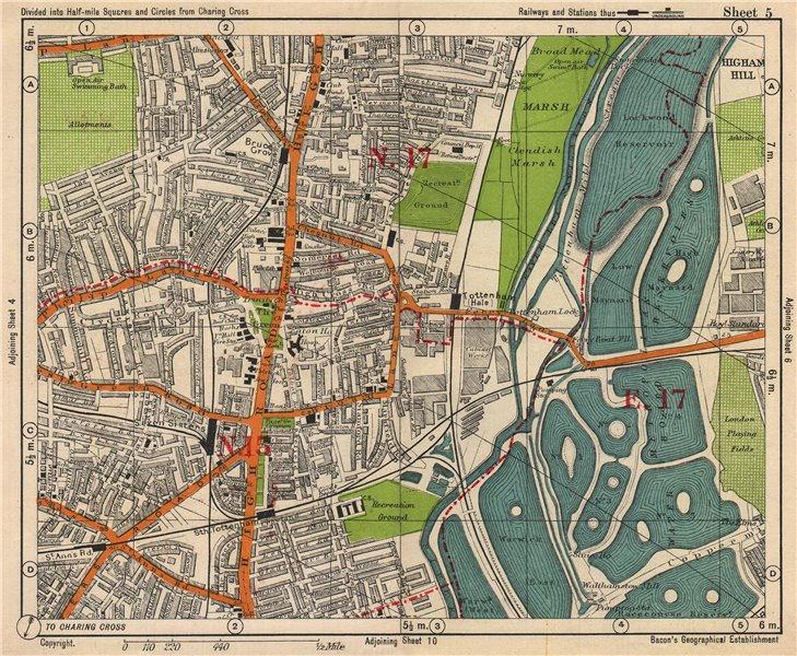 Associate Product NE LONDON. Seven Sisters South Tottenham Hale Higham Hill. BACON 1938 old map