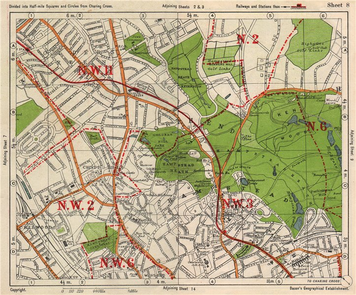 Associate Product NW LONDON. Golders Green Hampstead Child's Hill Cricklewood. BACON 1938 map
