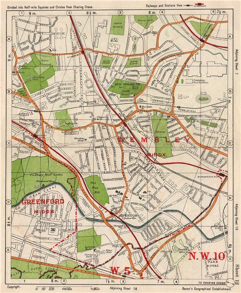 Associate Product NW LONDON. Wembley Sudbury Alperton Park Royal Hanger Lane. BACON 1938 old map