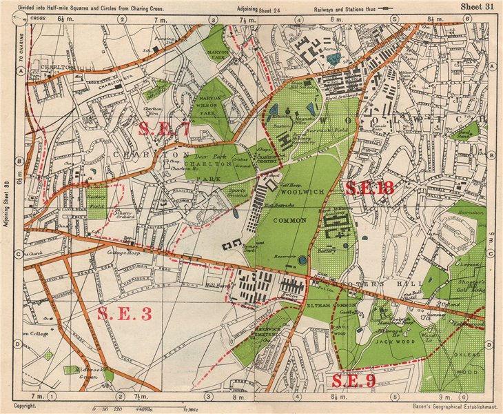 Associate Product SE LONDON. Charlton Woolwich Shooters Hill Eltham Kidbrooke. BACON 1938 map