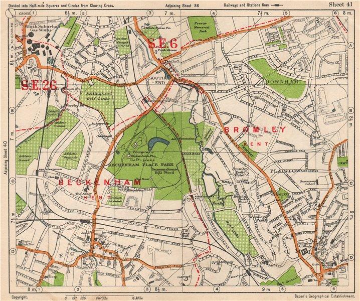SE LONDON. Beckenham Downham Bellingham Bromley Bell Green. BACON 1938 old map
