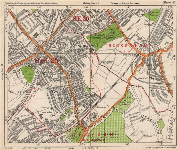 Map Of South East London.South East London South Norwood Woodside Elmer S End Anerley Bacon
