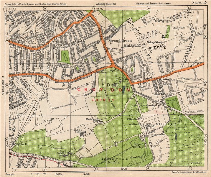 East London On Map.Details About South East London Shirley Addiscombe E Croydon Stroud Green Bacon 1938 Map