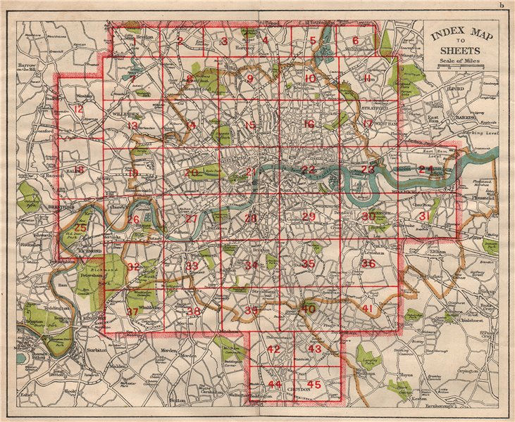 Associate Product LONDON. Index map. Roads. BACON 1933 old vintage plan chart