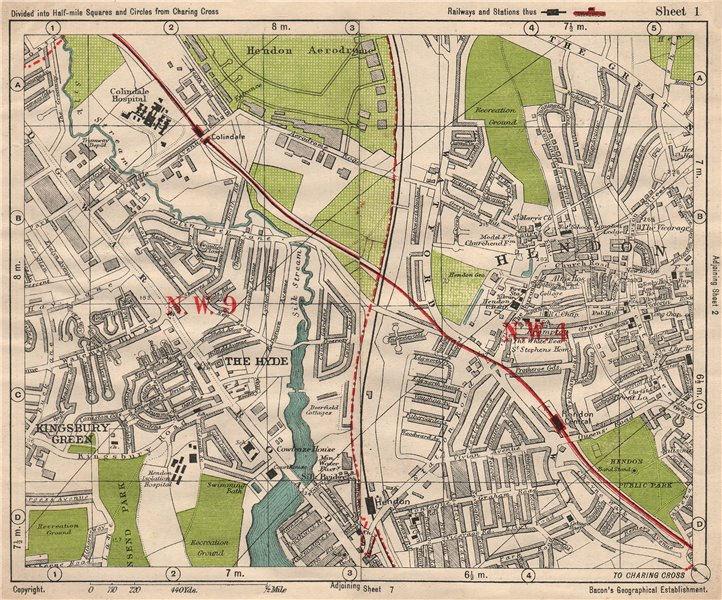Associate Product NW LONDON. Hendon Aerodrome Kingsbury Green The Hyde. BACON 1933 old map