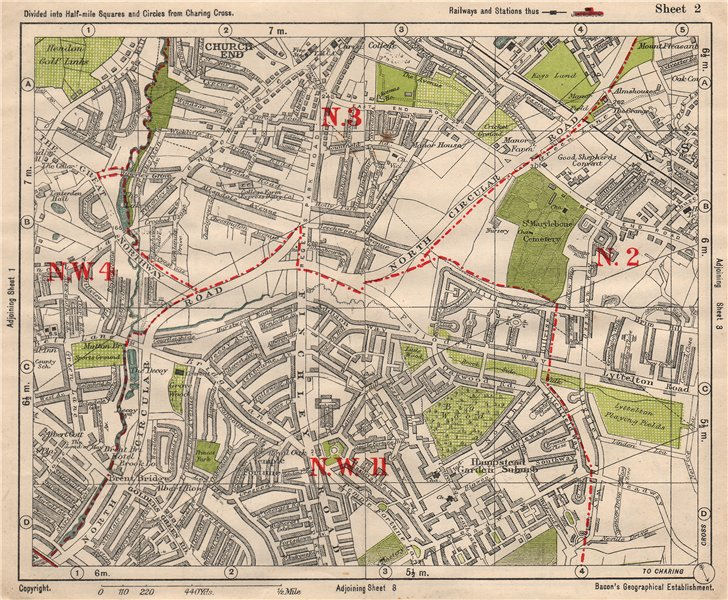 Associate Product NW LONDON. Church End Hampstead Garden Suburb East Finchley. BACON 1933 map