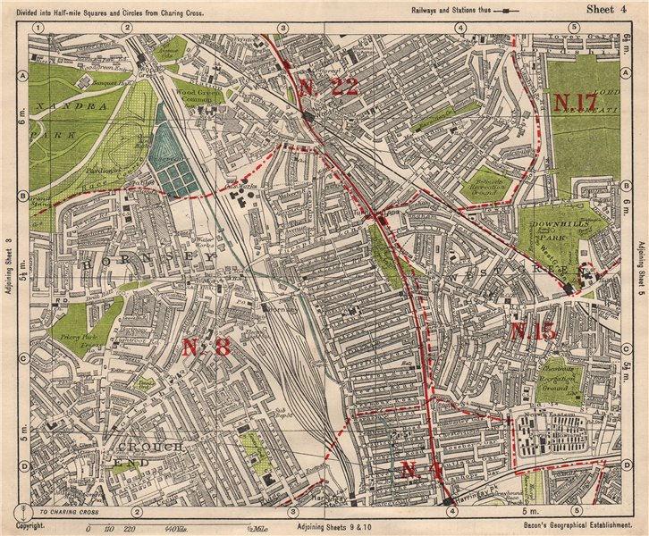 Associate Product N LONDON. Hornsey Wood Green Crouch End Harringay Noel Park. BACON 1933 map