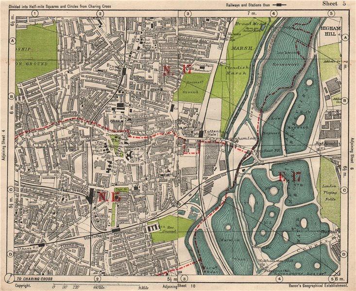 Associate Product NE LONDON. Seven Sisters South Tottenham Hale Higham Hill. BACON 1933 old map