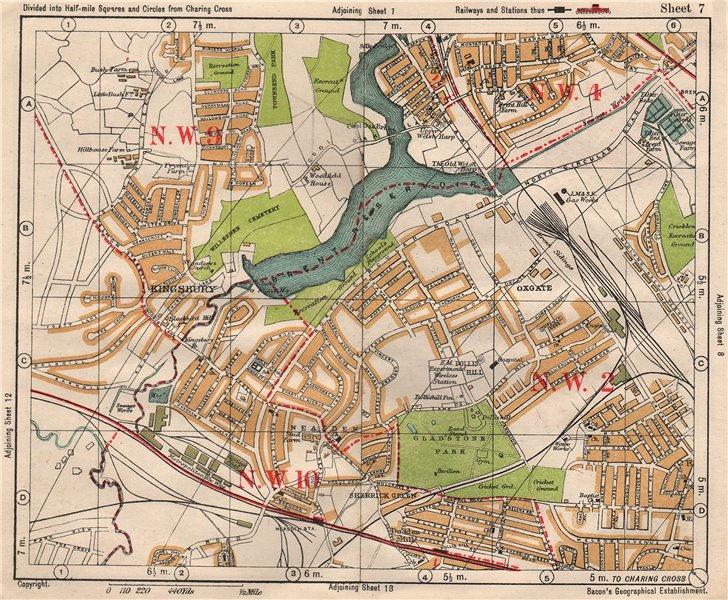 Associate Product NW LONDON. Neasden Cricklewood Hendon Kingsbury Oxgate Brent. BACON 1933 map