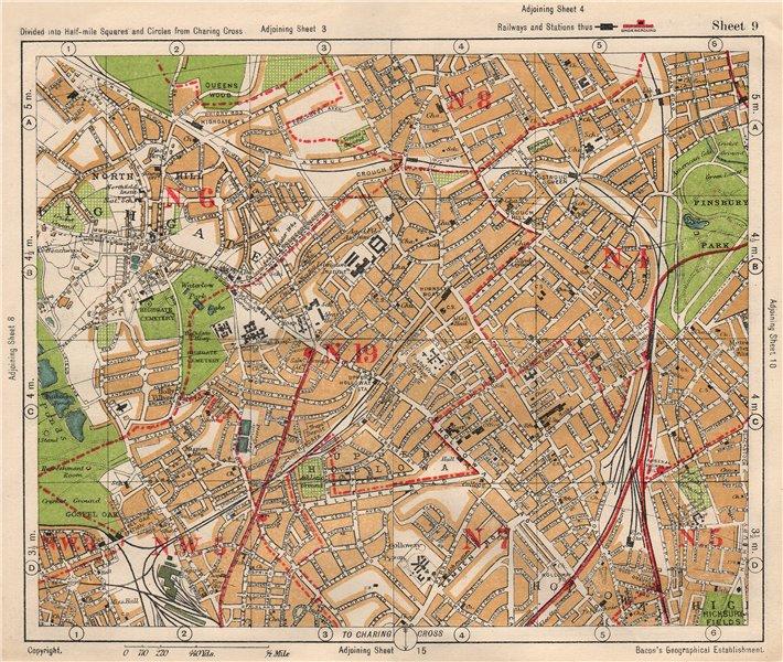 Associate Product N LONDON. Highgate Crouch End Holloway Finsbury Park Gospel Oak. BACON 1933 map