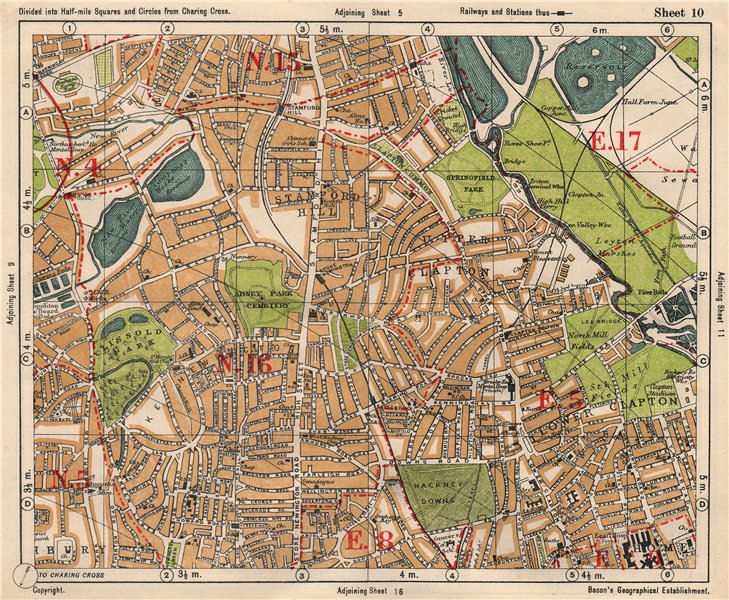 Associate Product NE LONDON. Stoke Newington Stamford Hill Clapton South Tottenham BACON 1933 map
