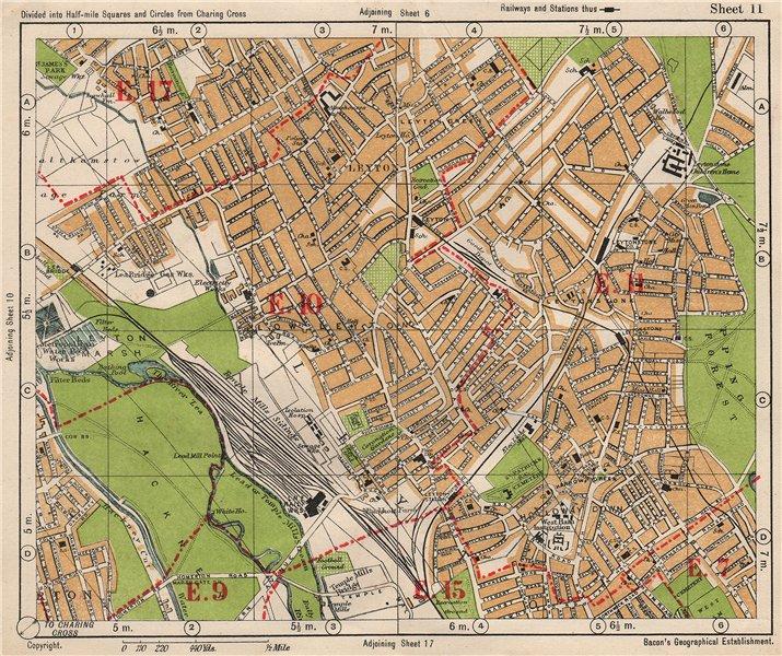 Associate Product NE LONDON. Leyton Leytonstone Hackney Marshes Knotts Green. BACON 1933 old map