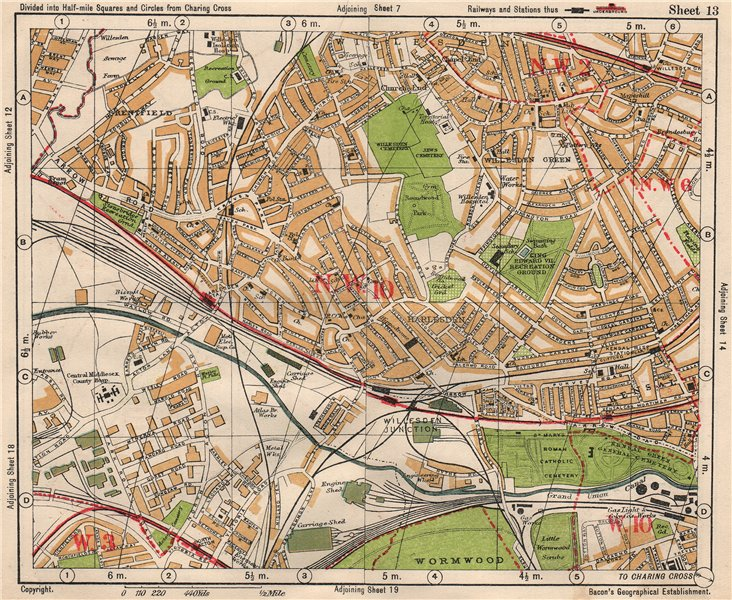 Associate Product NW LONDON Willesden Harlesden Kensal Green Brentfield Park Royal.BACON 1933 map