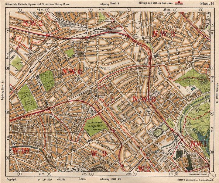 Associate Product NW LONDON. St John's Wood Belsize Park Maida Vale Queens Park. BACON 1933 map