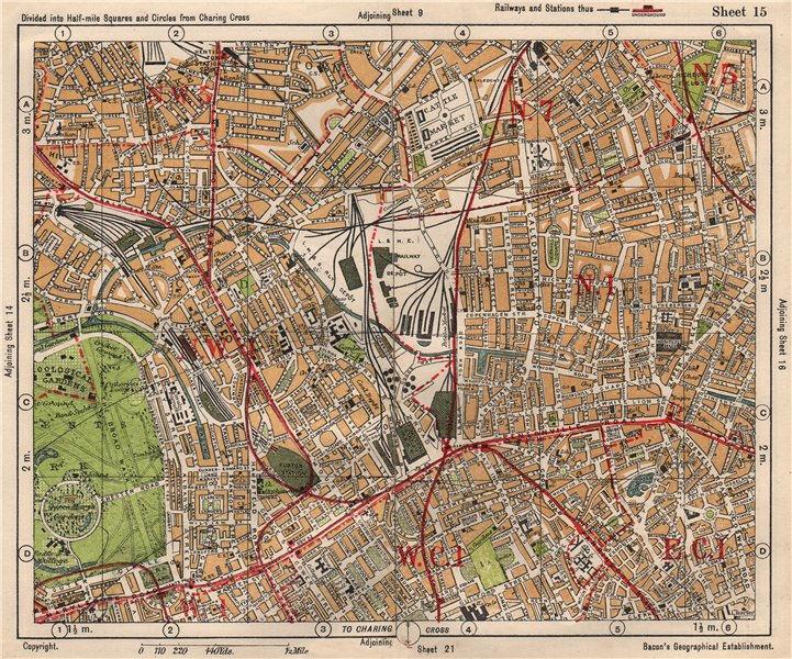 Associate Product N LONDON. Camden/Kentish Town Clerkenwell Bloomsbury Islington. BACON 1933 map