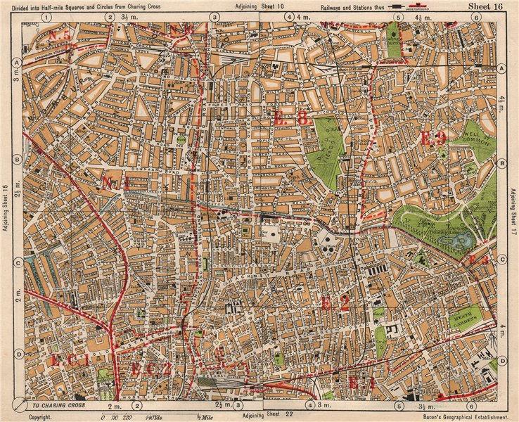 Associate Product NE LONDON. Hackney Bethnal Green Shoreditch Hoxton Canonbury. BACON 1933 map