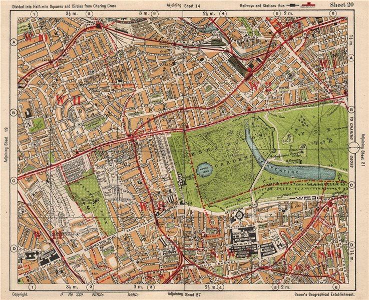 Associate Product W LONDON. Paddington South Kensington Bayswater Notting Hill. BACON 1933 map