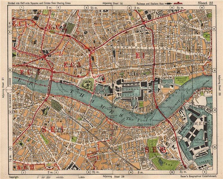 Associate Product LONDON. City East End Bermondsey Stepney Rotherhithe Whitechapel.BACON 1933 map