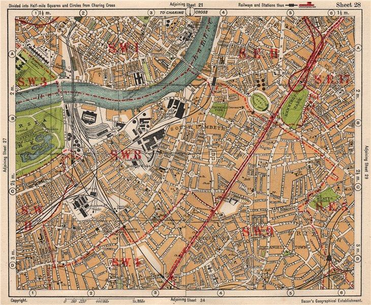 Associate Product S LONDON. Kennington Battersea Pimlico Brixton Lambeth Clapham. BACON 1933 map