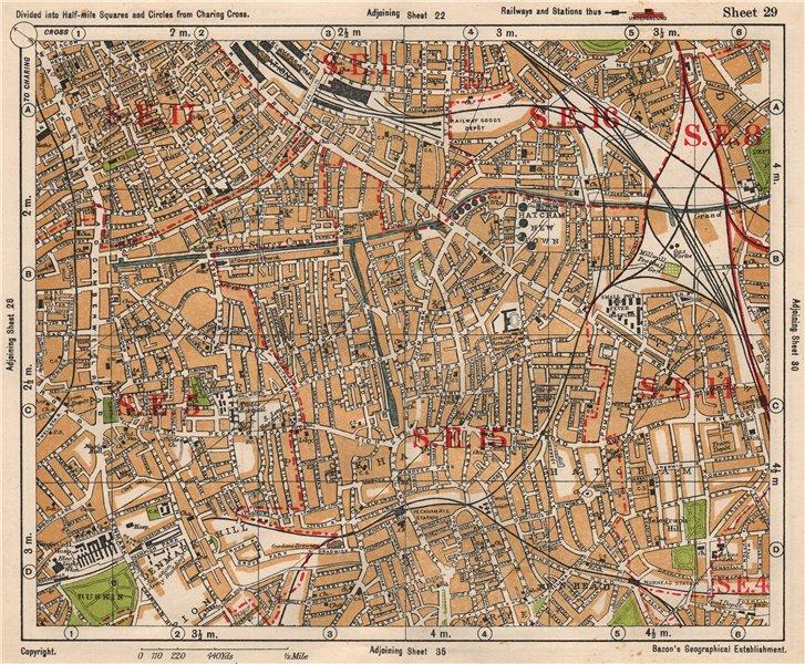 Associate Product SE LONDON. Peckham Camberwell Hatcham Denmark Hill Surrey canal. BACON 1933 map
