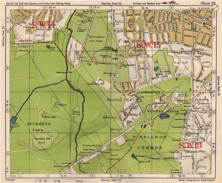 London Sw Map.Details About Sw London Putney Roehampton Richmond Park Wimbledon Common Bacon 1933 Map