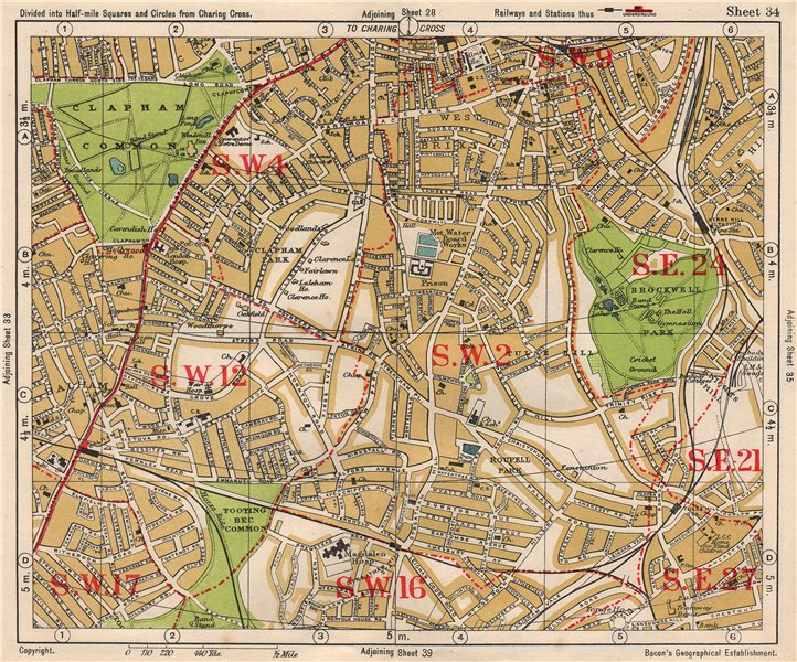 Associate Product S LONDON. Brixton Clapham Balham Herne Hill Streatham Tusle Hill.BACON 1933 map