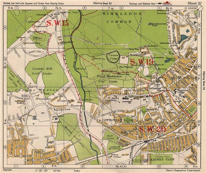 Associate Product SW LONDON. Wimbledon Common Cottenham Park Malden Coombe Hill. BACON 1933 map