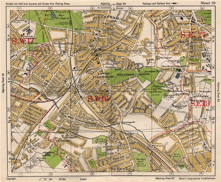 Associate Product S LONDON. Streatham/Vale Norbury Tooting Bec West Norwood. BACON 1933 old map