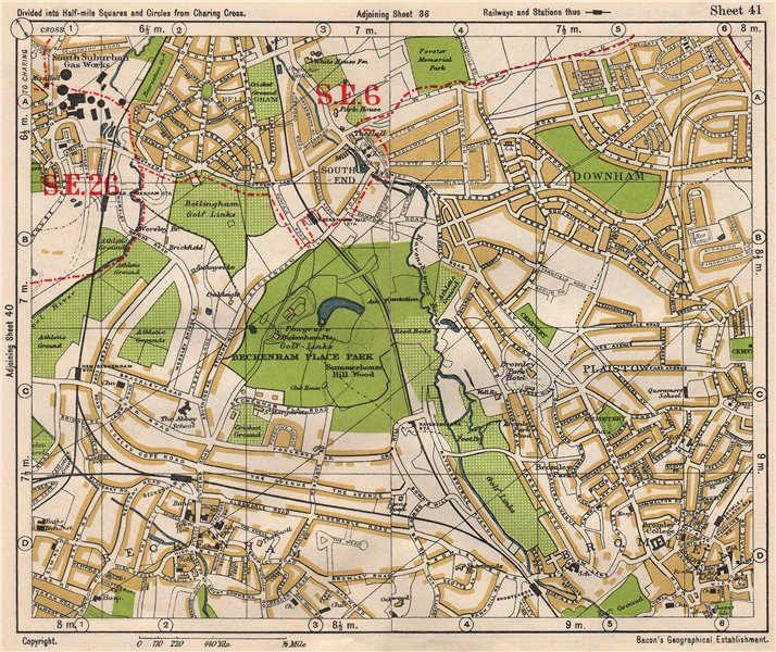 Associate Product SE LONDON. Beckenham Downham Bellingham Bromley Bell Green. BACON 1933 old map