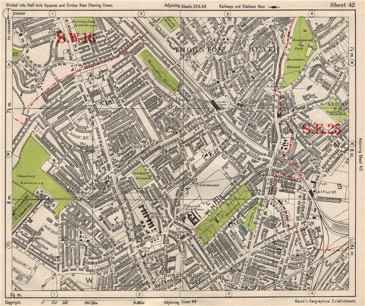 Associate Product SOUTH LONDON. Thornton Heath Broad Green Selhurst. BACON 1933 old vintage map