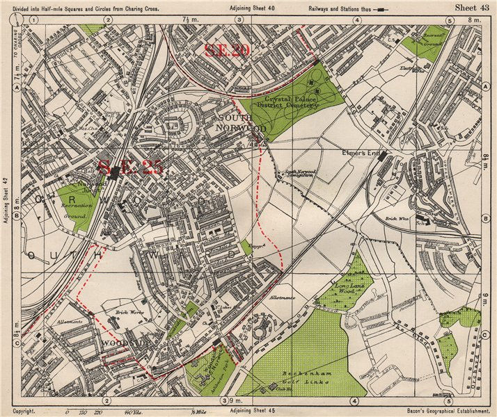 Associate Product SOUTH EAST LONDON. South Norwood Woodside Elmer's End Anerley. BACON 1933 map