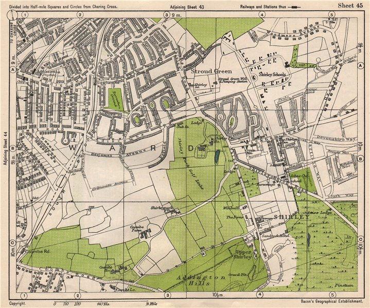 Associate Product SOUTH EAST LONDON. Shirley Addiscombe E Croydon Stroud Green. BACON 1933 map