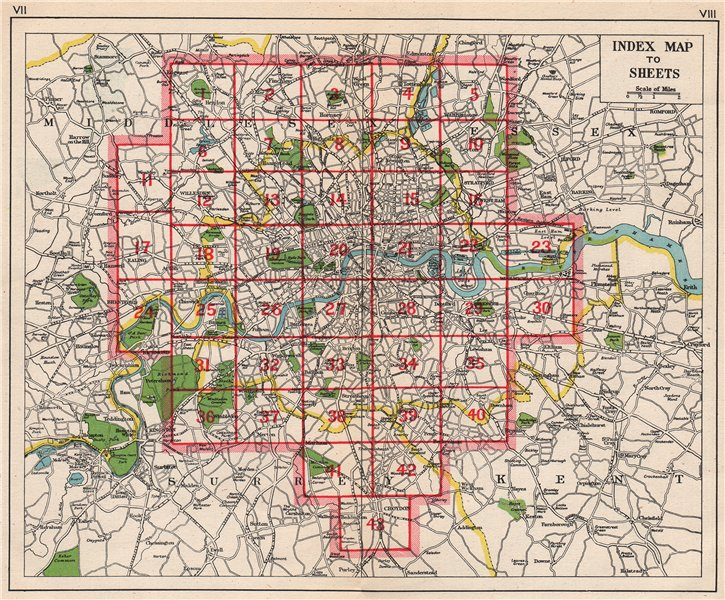 Associate Product LONDON. Index map. Roads. BACON 1948 old vintage plan chart