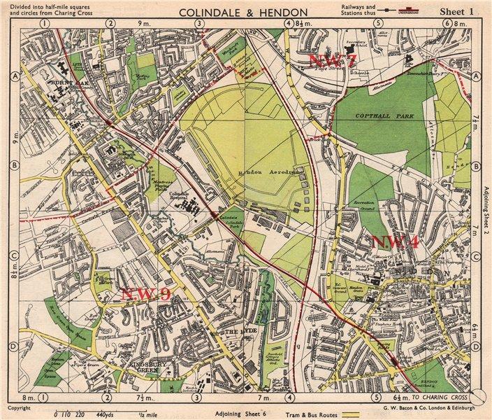 NW LONDON. Colindale Hendon aerodrome Kingsbury Green Burnt Oak. BACON 1948 map