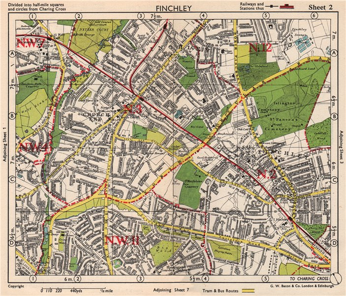 Associate Product NW LONDON Finchley Church End Mill Hill Hampstead Garden Surburb.BACON 1948 map
