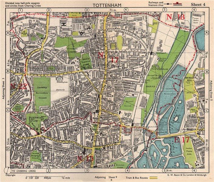 Associate Product N LONDON Tottenham Edmonton Seven Sisters Higham Hill West Green.BACON 1948 map