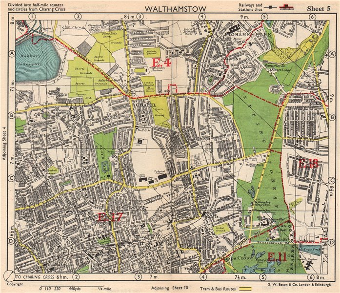 Associate Product NE LONDON. Walthamstow Highams Park Chapel End Epping Forest. BACON 1948 map