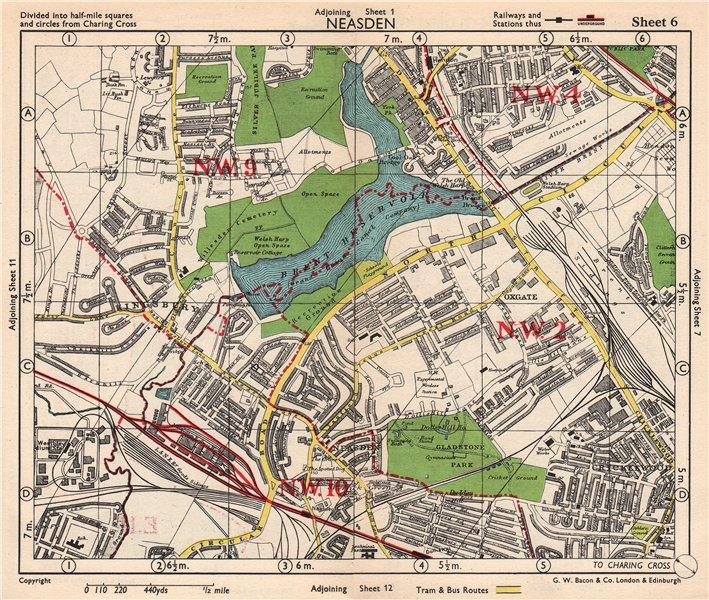 Associate Product NW LONDON. Neasden Cricklewood Hendon Kingsbury Oxgate Brent. BACON 1948 map