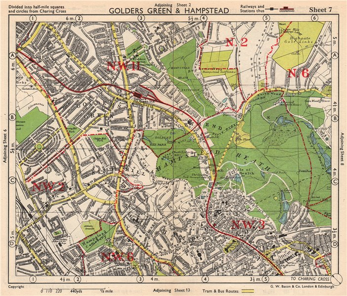 Associate Product NW LONDON. Golders Green Hampstead Child's Hill Cricklewood. BACON 1948 map