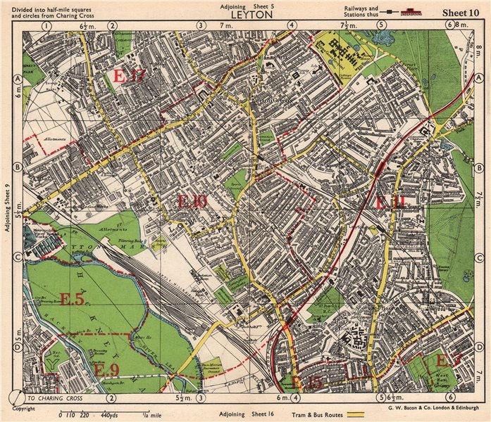Associate Product NE LONDON. Leyton Leytonstone Hackney Marshes Knotts Green. BACON 1948 old map