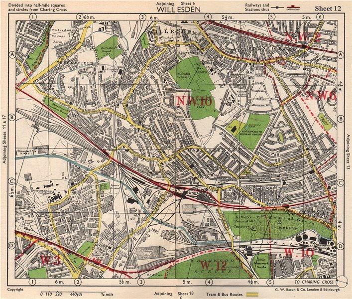 Associate Product NW LONDON Willesden Harlesden Kensal Green Brentfield Park Royal.BACON 1948 map