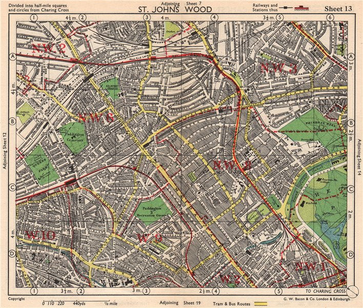 Associate Product NW LONDON. St John's Wood Belsize Park Maida Vale Queens Park. BACON 1948 map